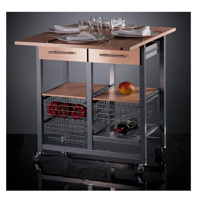 Desserte de cuisine mobile en inox convertible en table for Table inox cuisine