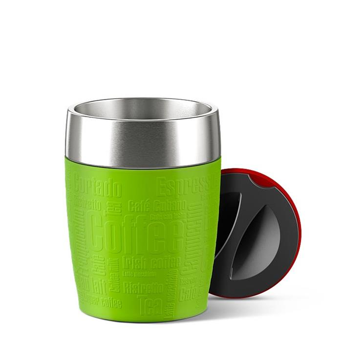 travel cup tasse mug isotherme inox et silicone 20 cl emsa vert lime la casserolerie. Black Bedroom Furniture Sets. Home Design Ideas