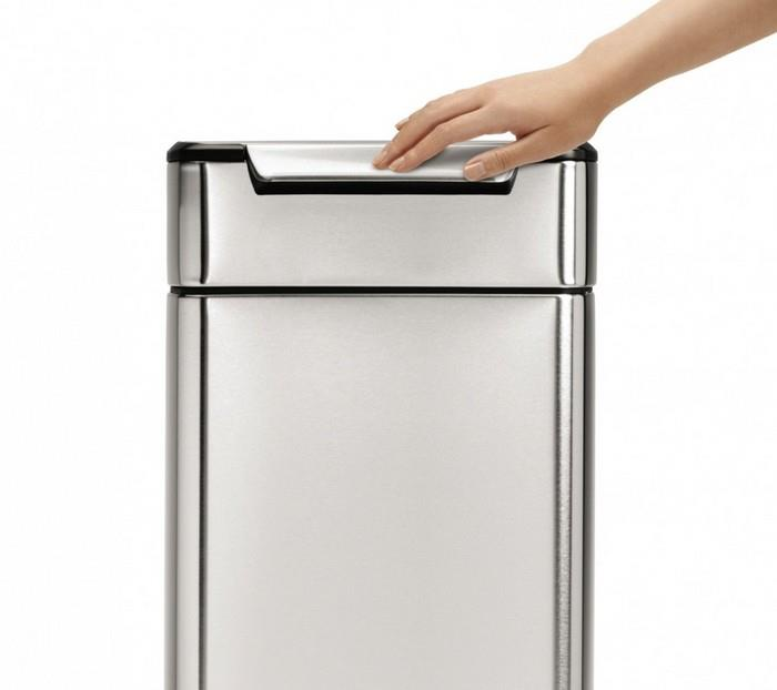 poubelle de cuisine rectangulaire simplehuman 30 l inox la casserolerie. Black Bedroom Furniture Sets. Home Design Ideas